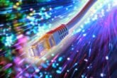 Ethernet cable with fiber optic background